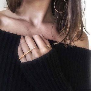 Minimalist Gold Line Bar Ring